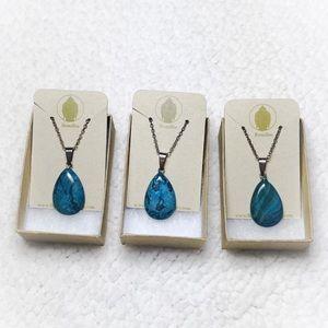 Blue Jasper Teardrop Sterling Silver Necklace